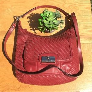 Coach Woven Leather Crossbody Hobo Bag